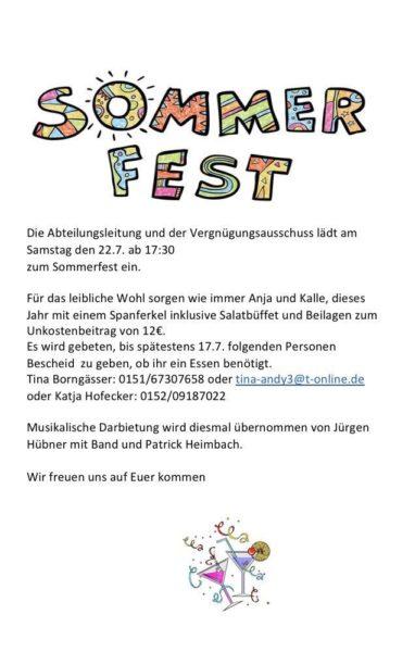 Einladung Sommerfest 2017